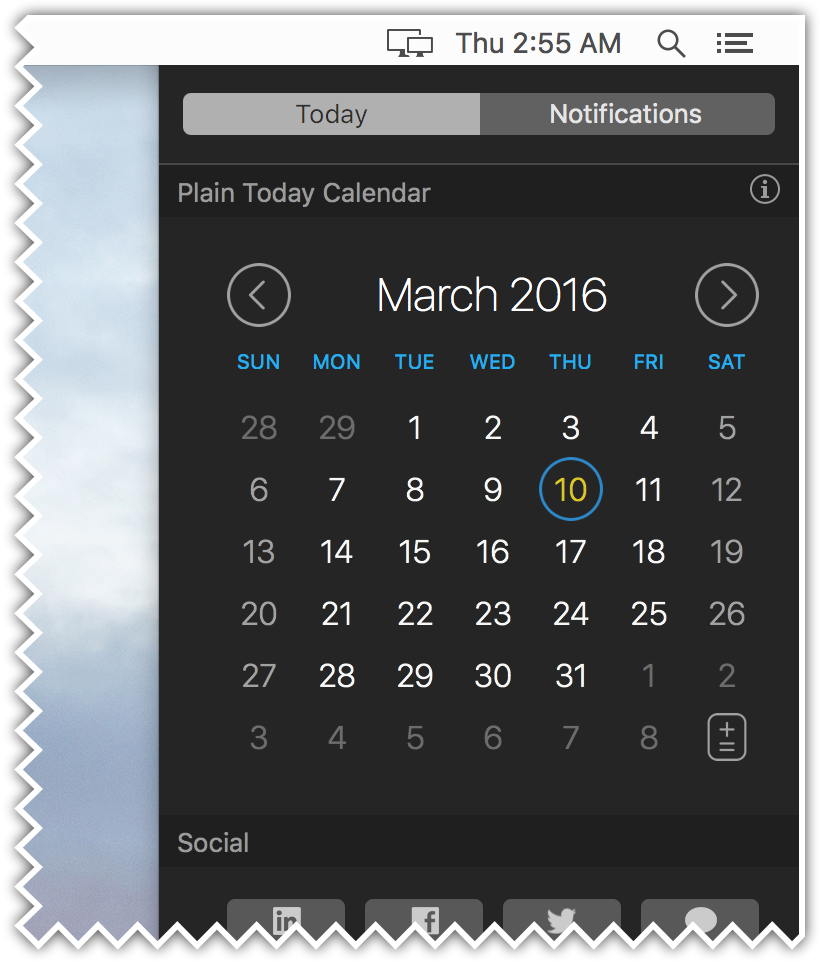 Plain Today Calendar (1.0 version for OS X El Capitan)