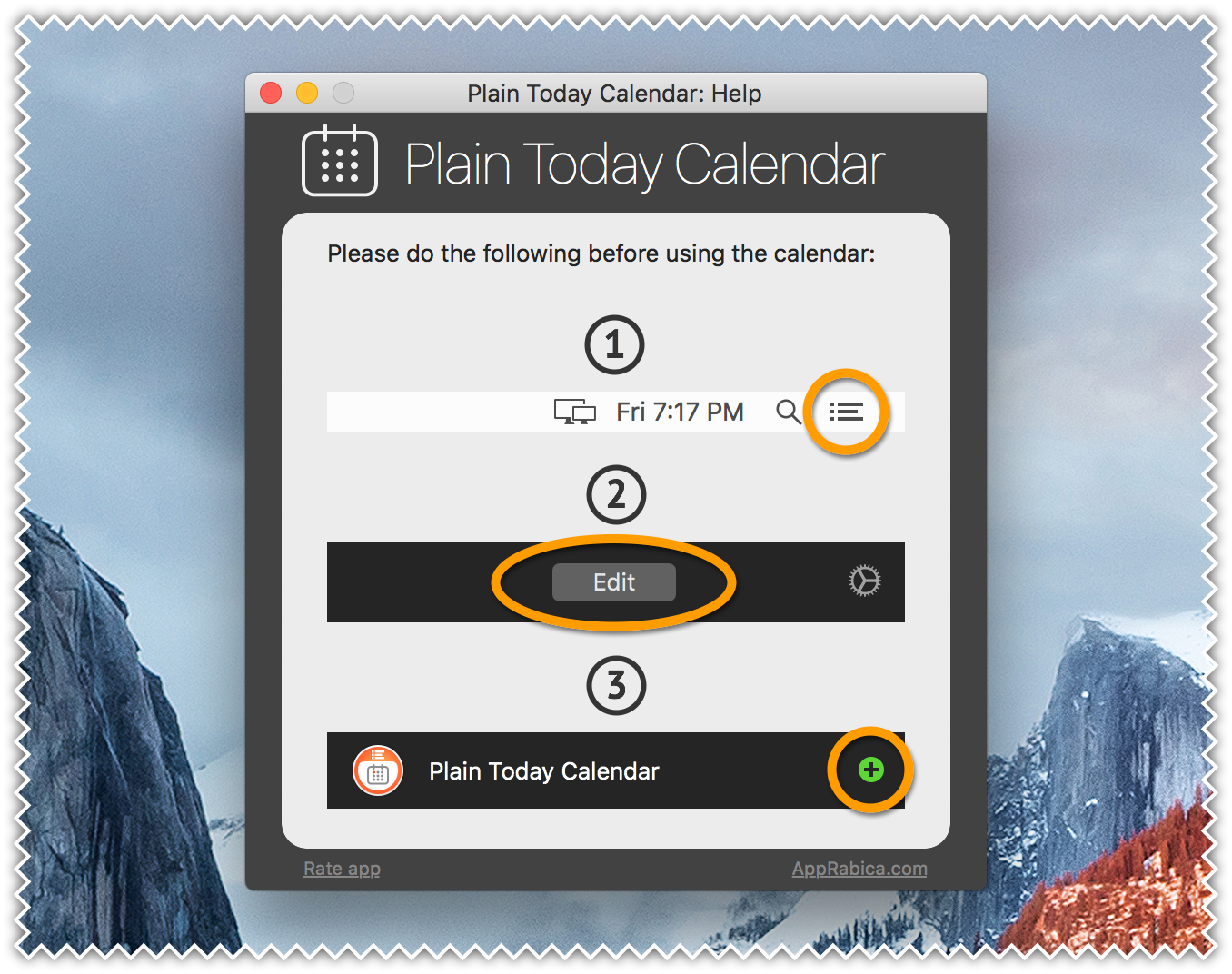 Plain Today Calendar for Mac - Widget Help