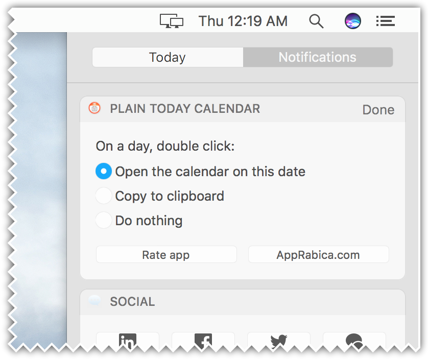 Plain Today Calendar for Mac - widget settings