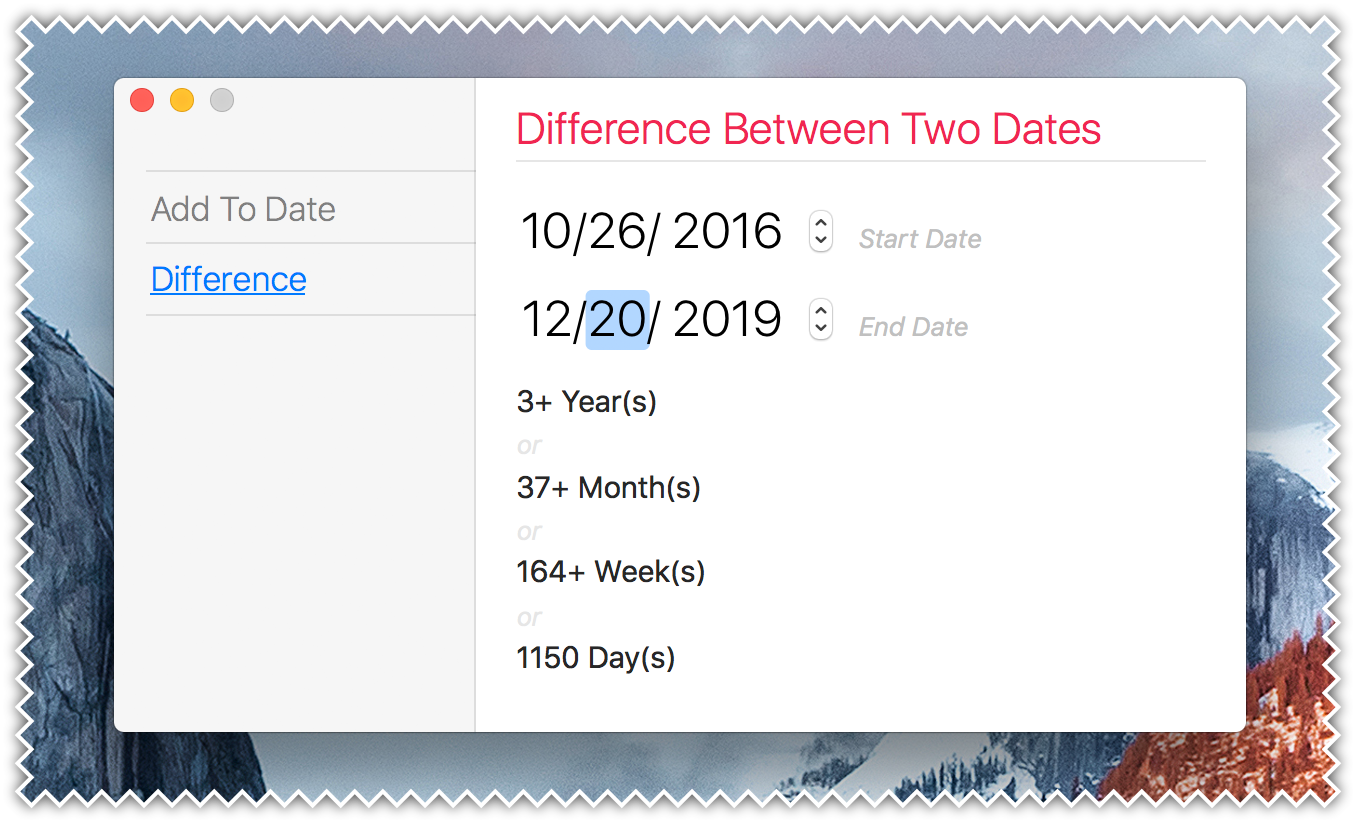 Plain Today Calendar for Mac - Date Difference Calculator