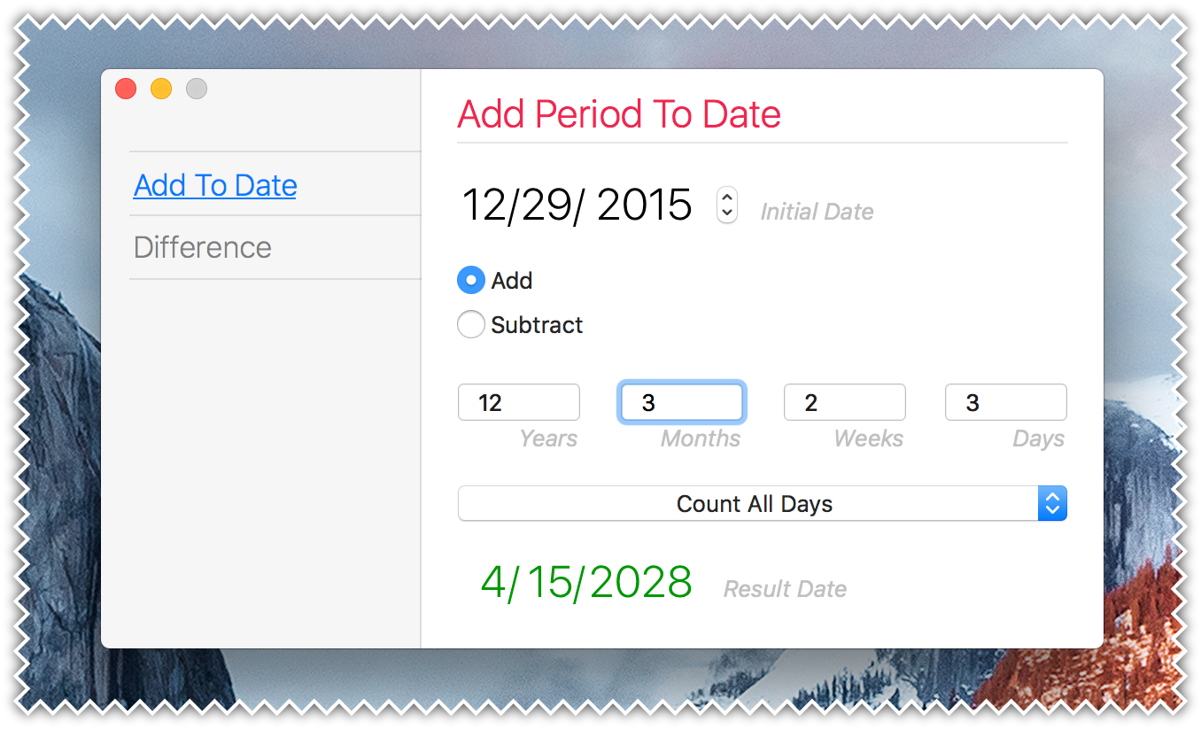 Plain Today Calendar for Mac - Add Period To Date Calculator
