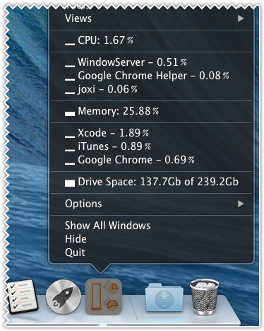 Top processes by cpu and memory at dock menu