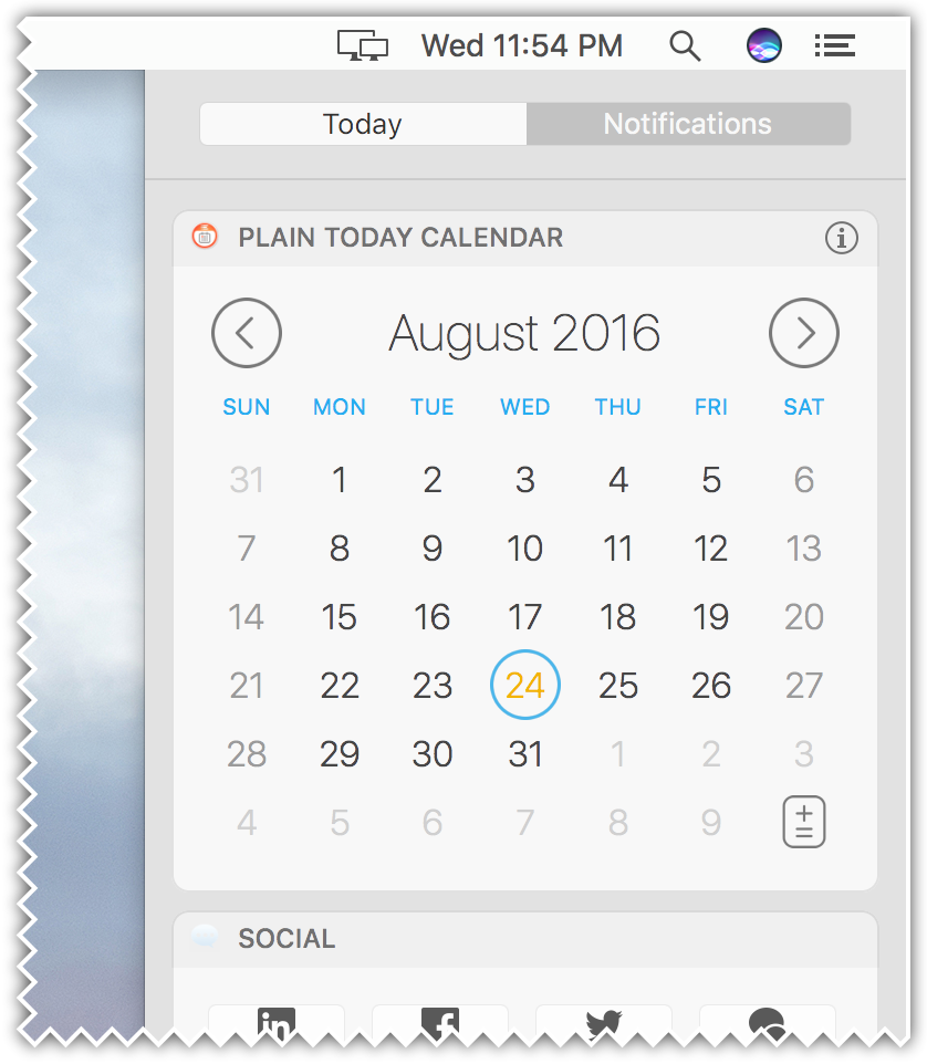 Plain Today Calendar for Mac - application widget